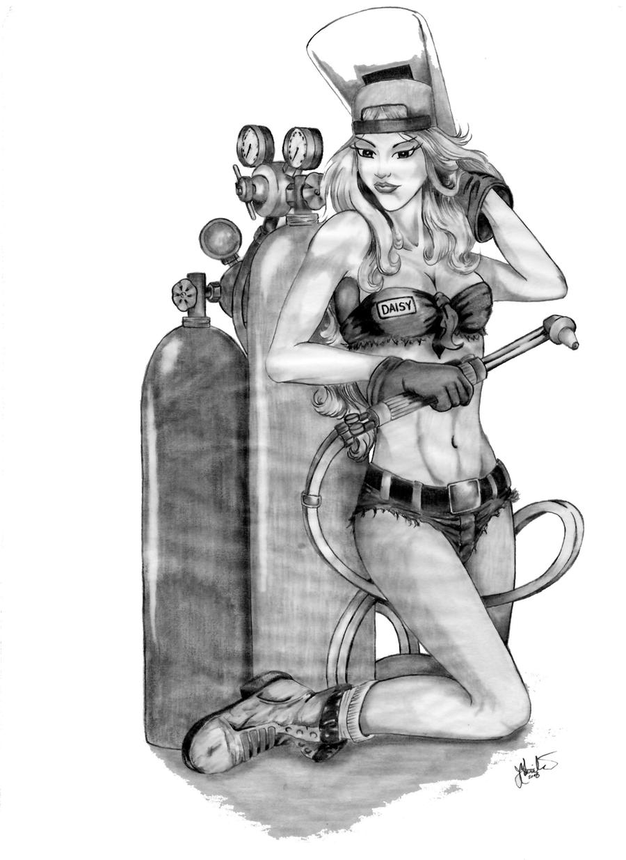 welder pin up by greezmnky designs interfaces tattoo design 2008 2014 ...