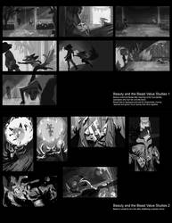 Beauty and the Beast value roughs by Spikie
