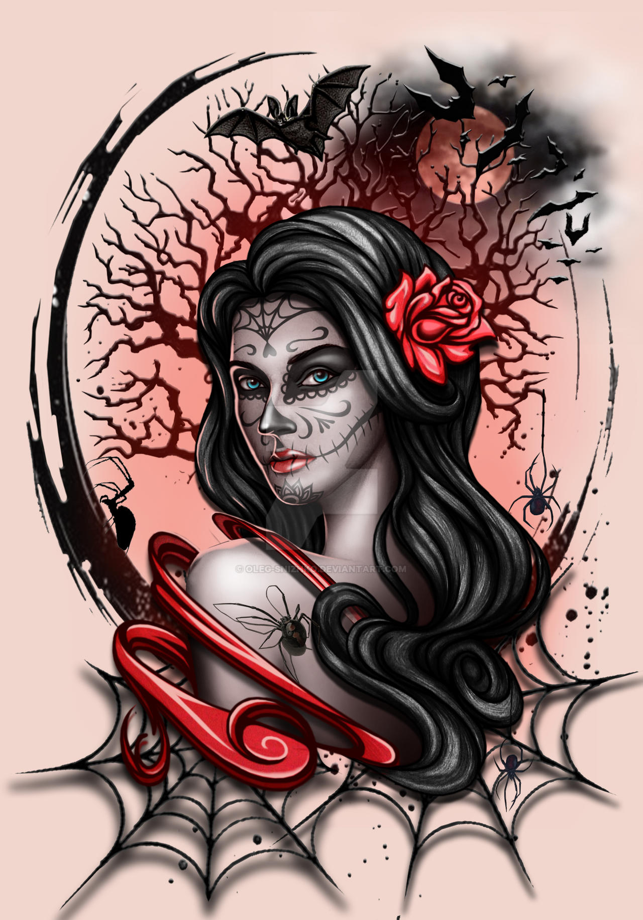 Gothic Design Realism La Catrina Girl By Oleg Snizhko On Deviantart
