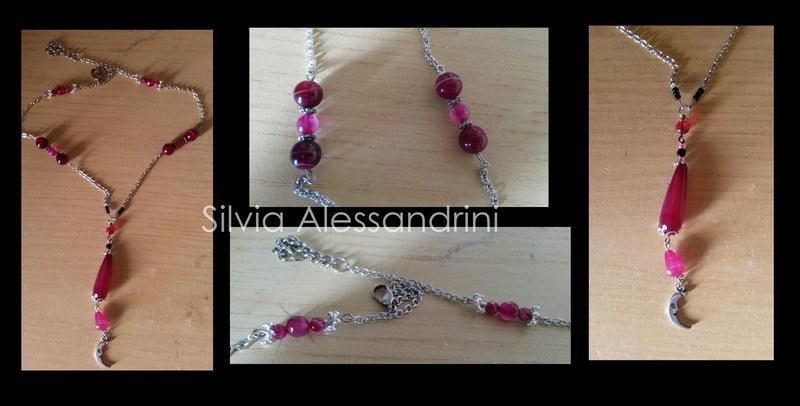 Moon fuchsia necklace by SilvieTepes
