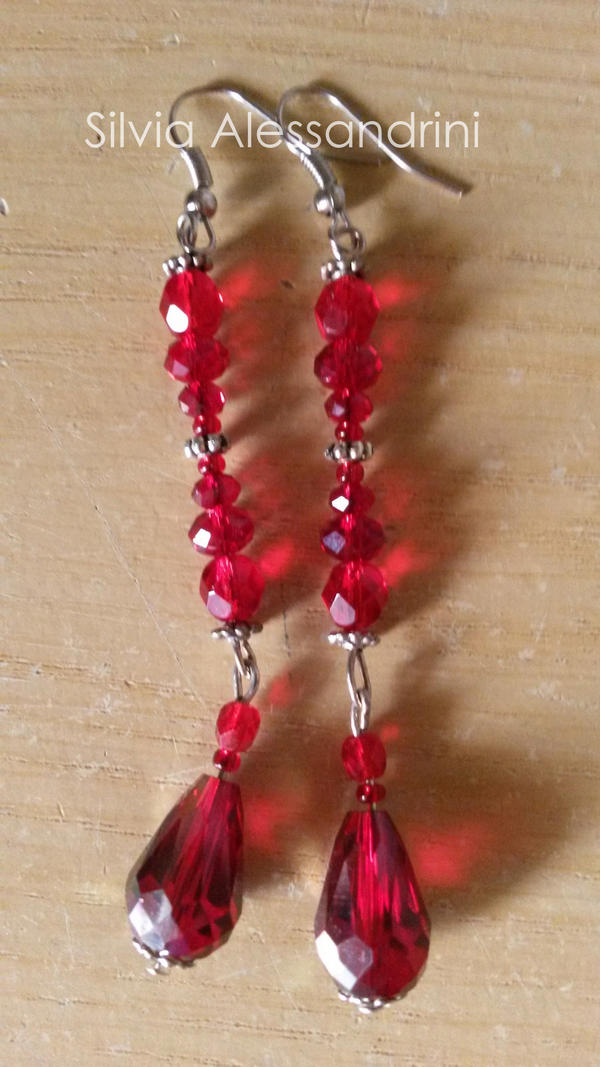 Red drop earrings by SilvieTepes