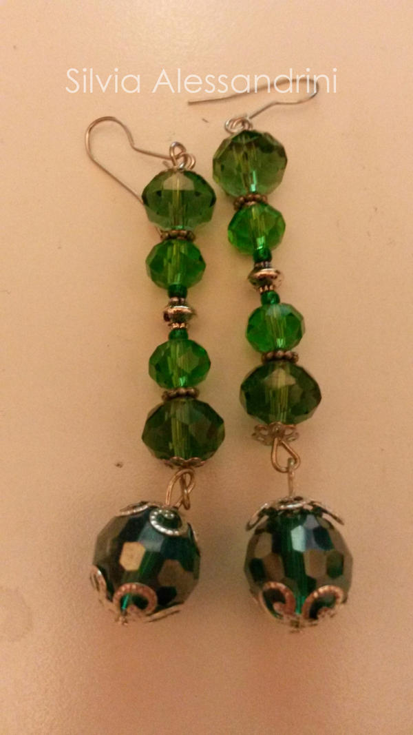 Green ball earrings by SilvieTepes