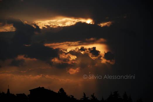 Cloudy dark sunset