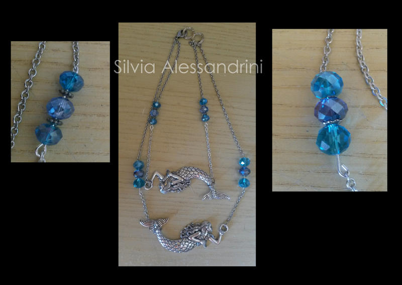Double mermaids necklace by SilvieTepes