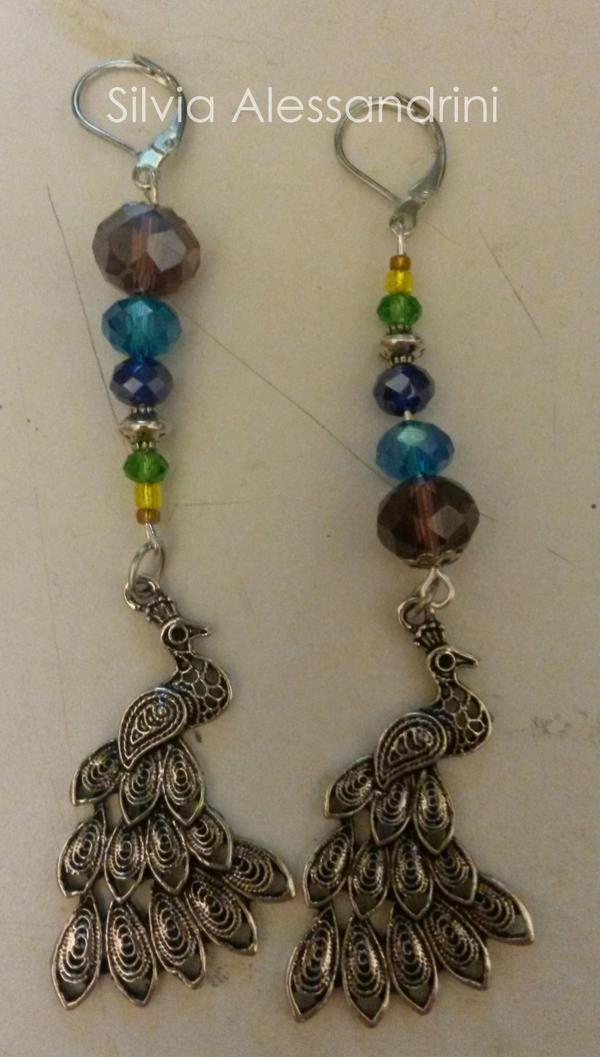 Peacock earrings by SilvieTepes