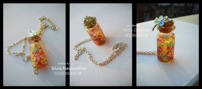 Bottle necklace with fruit