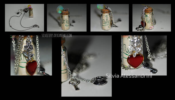 Alice in Wonderland inspired bottle necklace