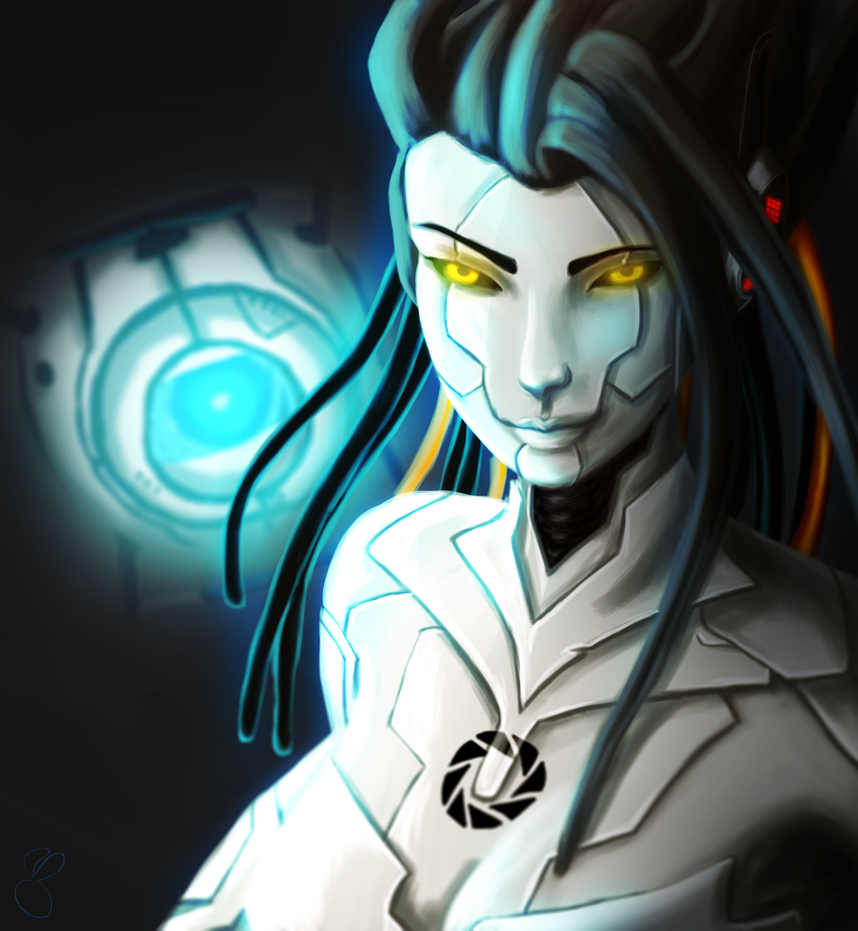 GLaDOS and Wheatley by BunnyStygian