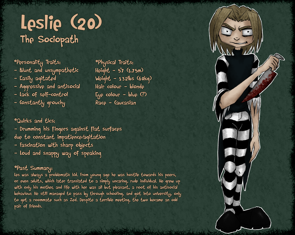 Leslie (character sheet) by BunnyStygian