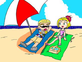 Spike and Buffy hit the beach by ScruffyToto
