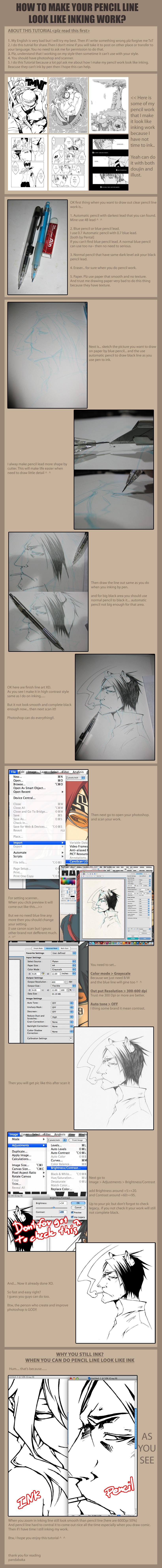 Tut make pencil look like ink by pandabaka