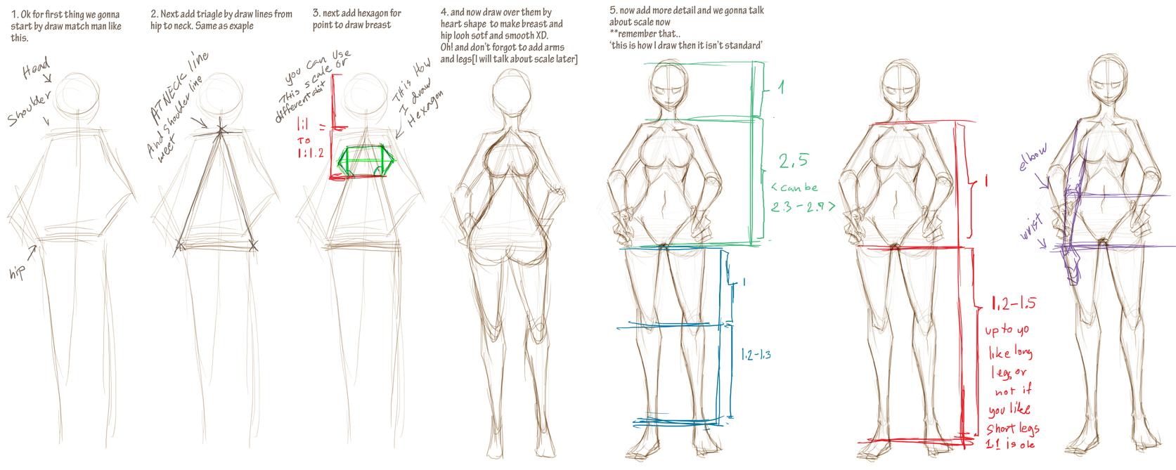 how I draw basic woman figure by pandabaka