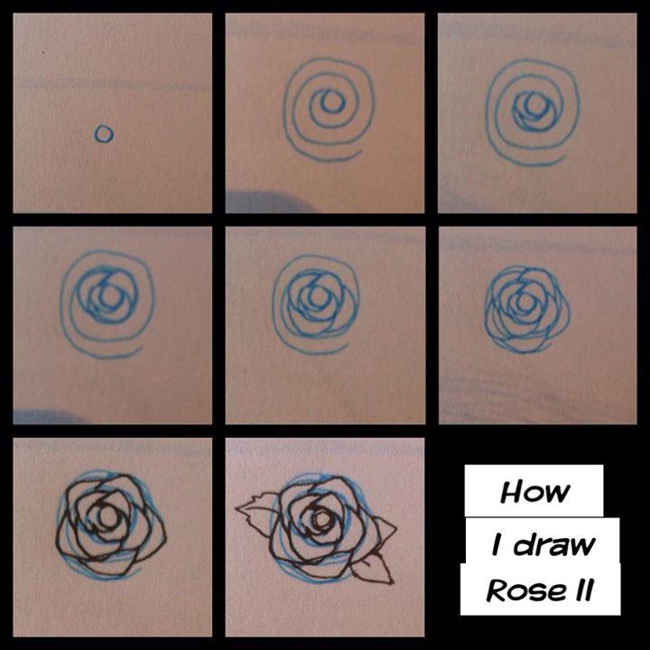 step - how I draw rose II by pandabaka