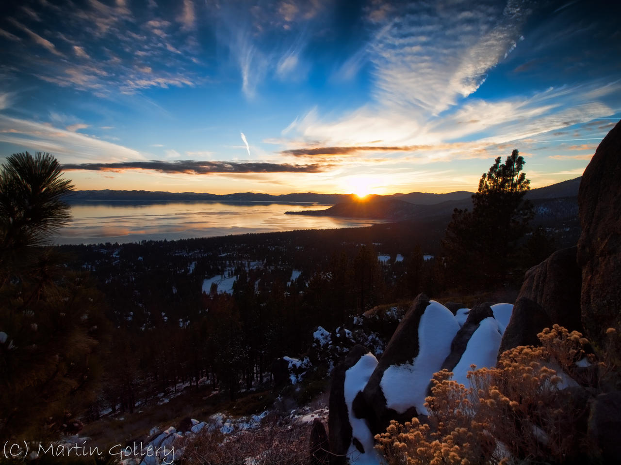 Snowy Tahoe sunset by MartinGollery