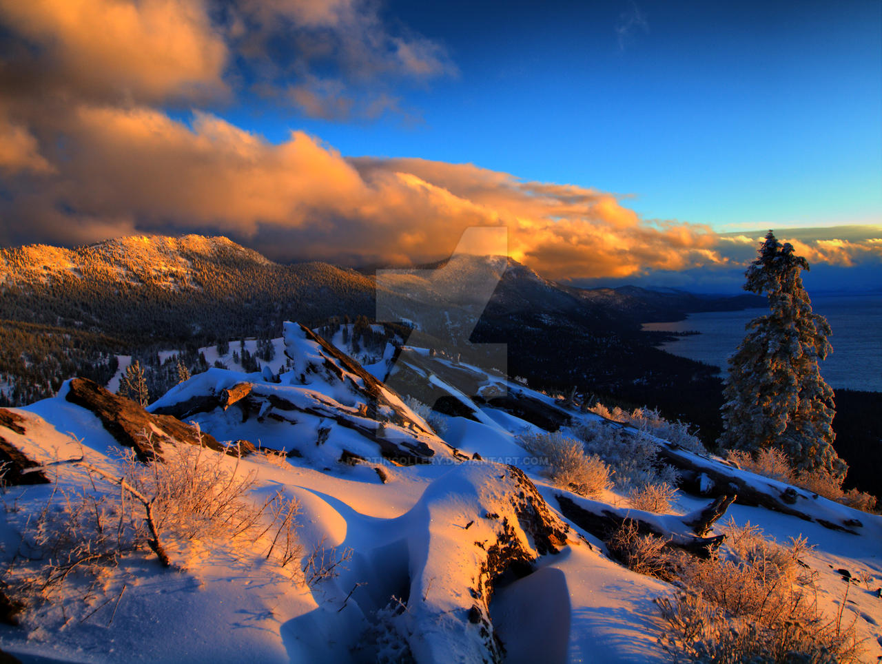 Snowy ridge sunset by MartinGollery