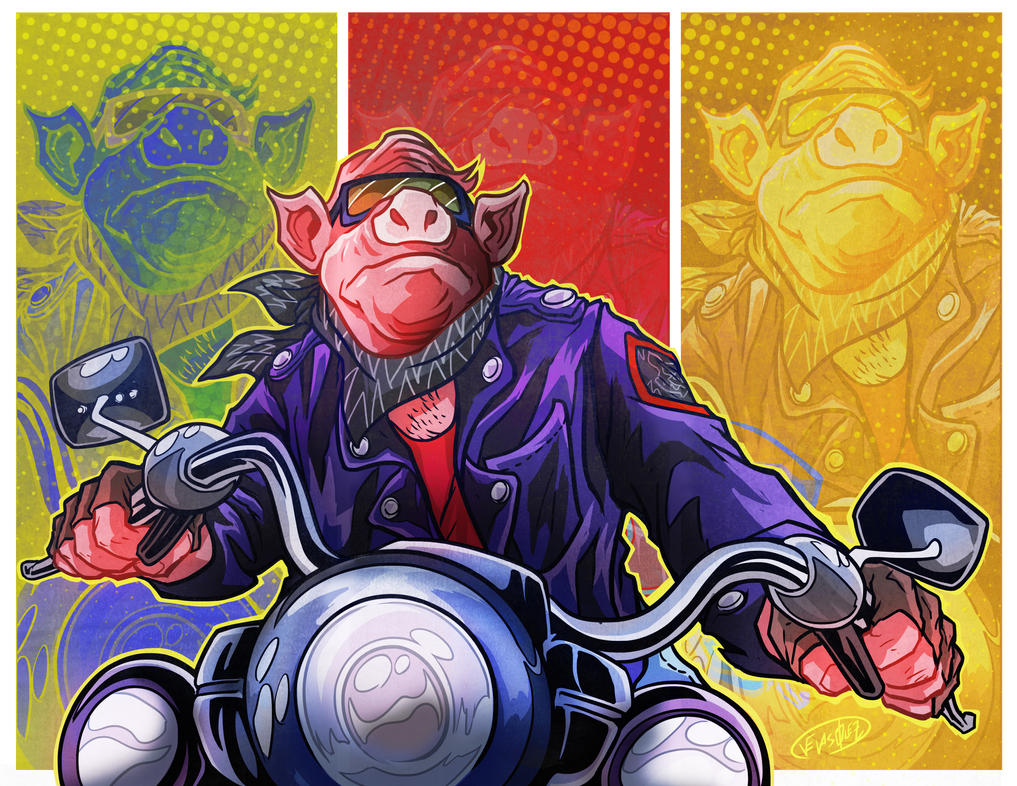 Biker Pig_Comission by eldeivi