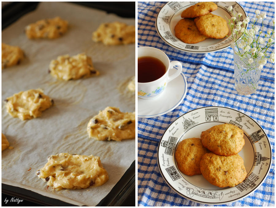 Banana chocolate chip cookies by Nattyw