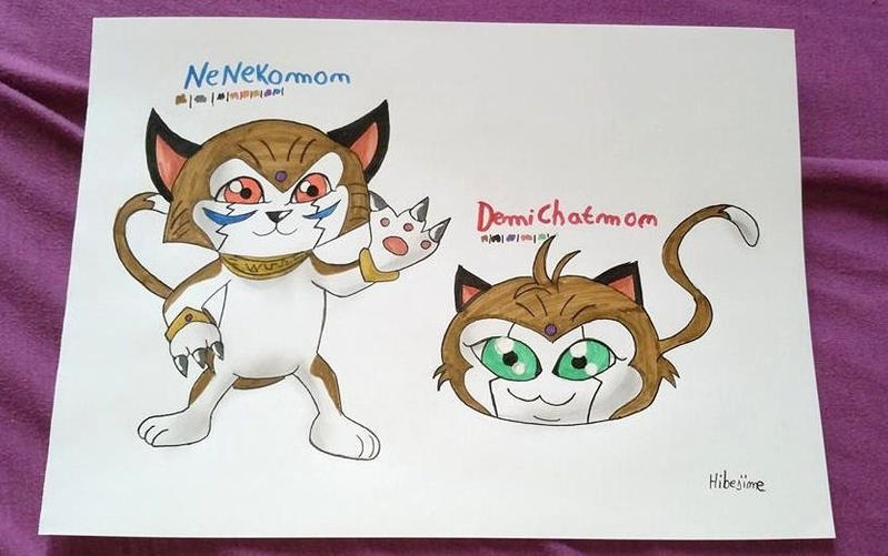 NeNekomon and Chatmon~ by Hibejime