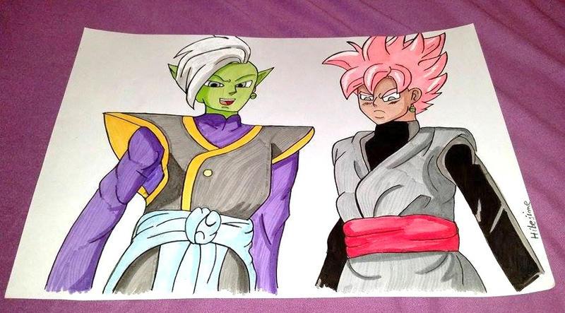 Zamasu and black Goku (rose) by Hibejime