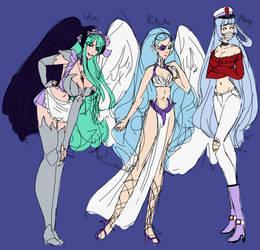 ultimate blue haired waifu squad by Random-Artist-1