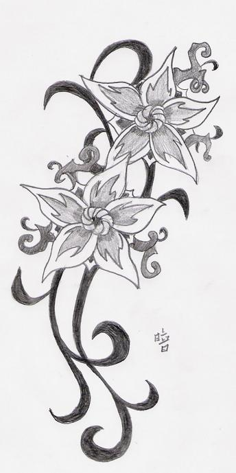 design flower tattoo by Kuro Hoshi1 on deviantart and this design cool for side body tattoo, hand tattoo, upper back body tattoo or for foot tattoo