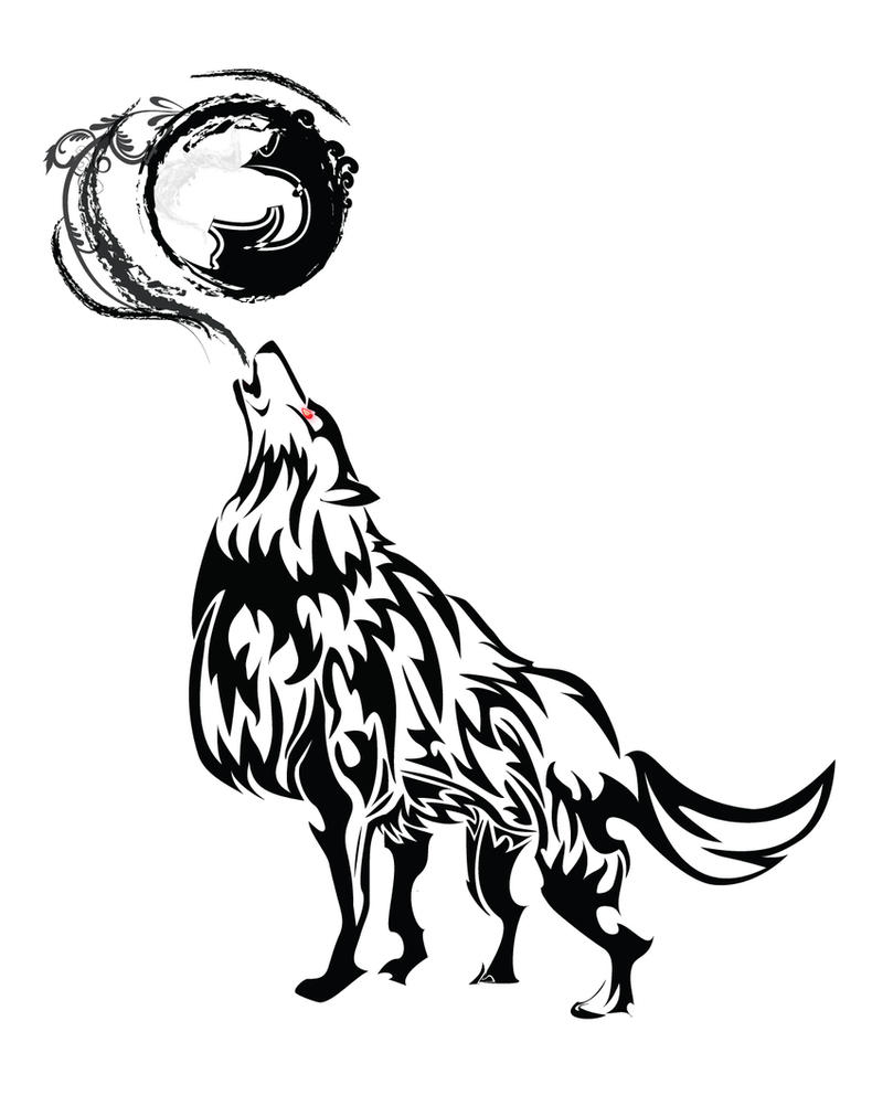 Black Wolf Howling Drawing Howling Wolf Tr...
