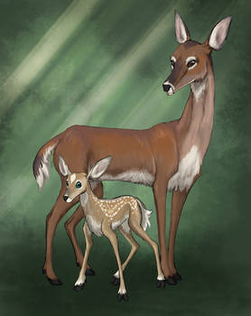 Down in the Dark - Doe and Fawn concept art