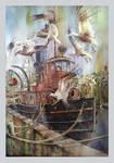 Tugboat  The Essayons  Original Watercolor