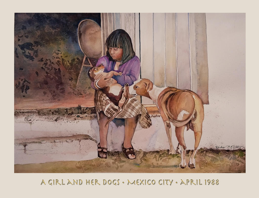 A Girl And Her Dogs Mexico City 1988 by richardcgreen