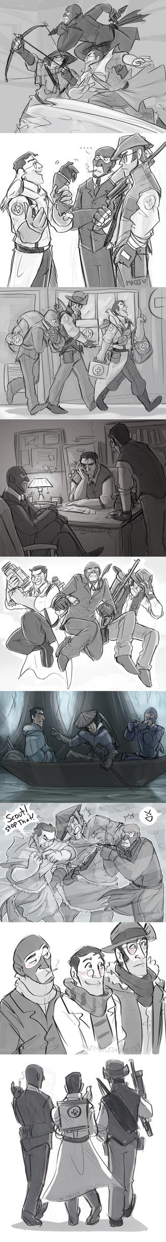 TF2- The Support Team Sketches by MadJesters1
