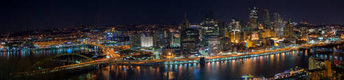 Panorama - Pittsburgh Earth Hour 2015 by StevenJP