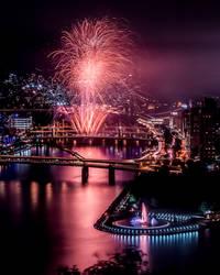 Long Exposure Fireworks From Mt. Washington by StevenJP