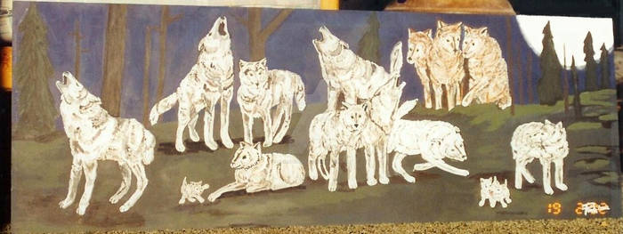 5 Ft Painting wolf pack