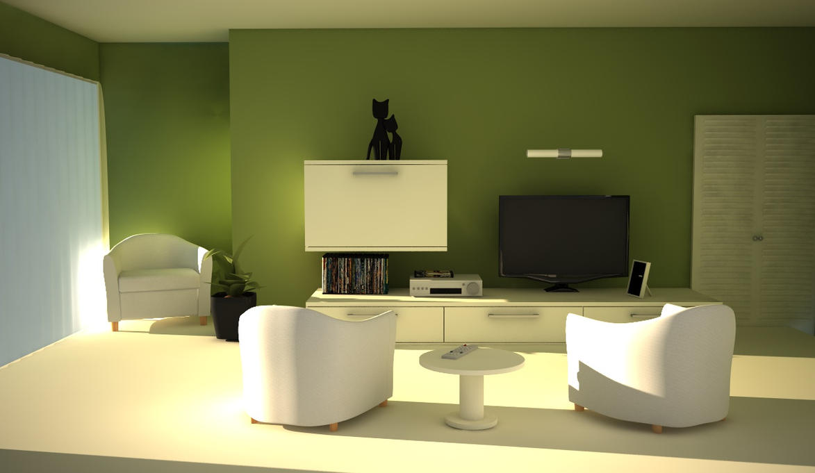 Green living room by ngo design on deviantart for Green living room ideas