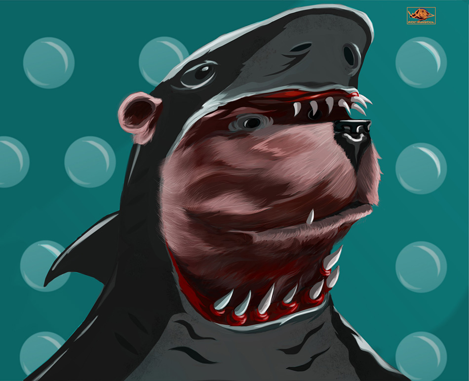 Bear in a Shark Outfit by Moebocop