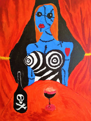 A blue Burton's lady with glass of wine by hhannie