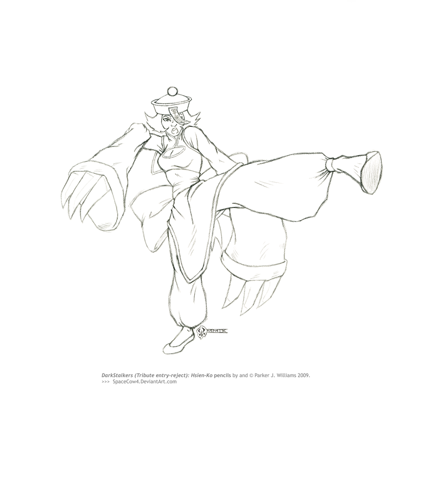 DarkStalkers: Hsien-Ko pencils by spacecow4