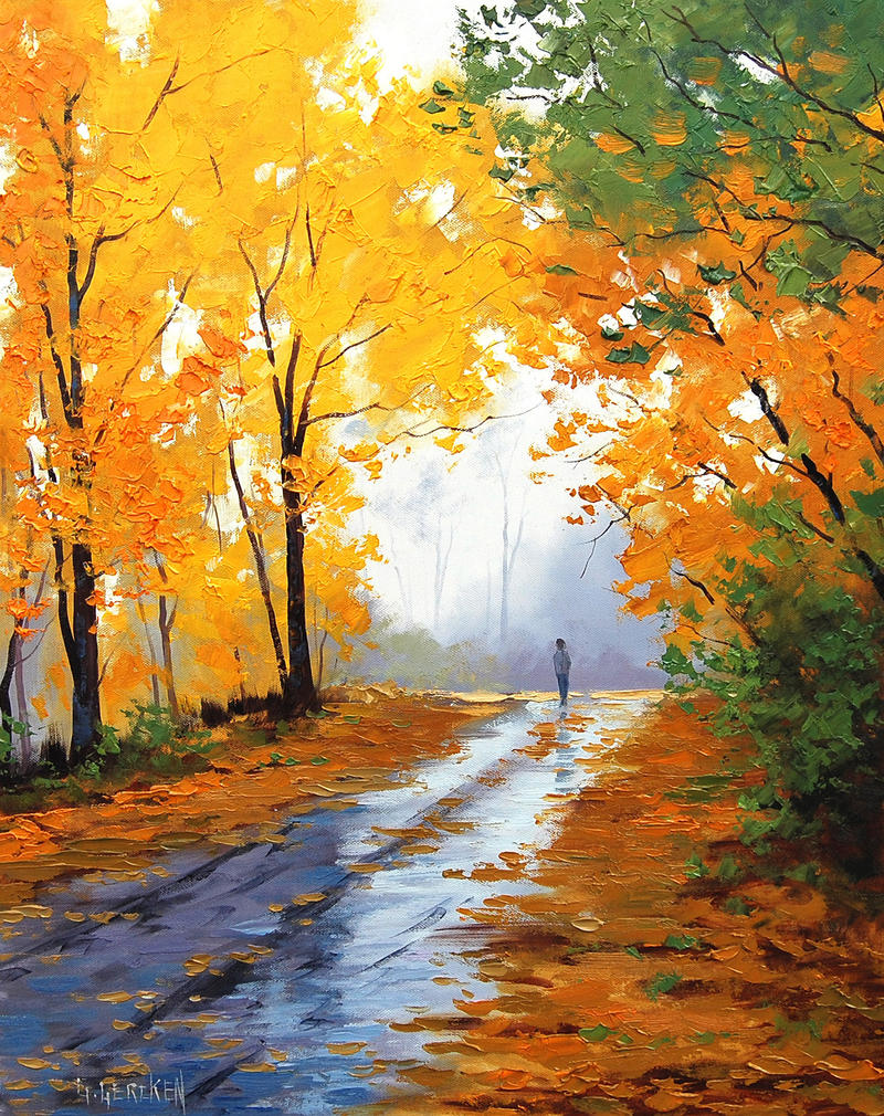fall leaves painting by artsaus on deviantart