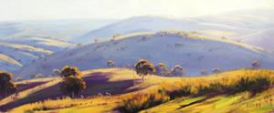Sunlit Hills Kanimbla Valley by artsaus