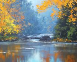 Autumn River by artsaus