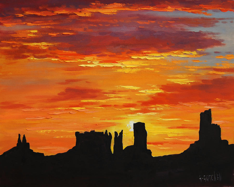 Monument Valley Sunset by artsaus