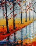 Wet Autumn Road