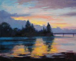 Lake Sunset Painting by artsaus