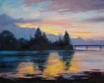 Lake Sunset Painting