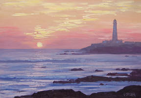 California Lighthouse Painting by artsaus
