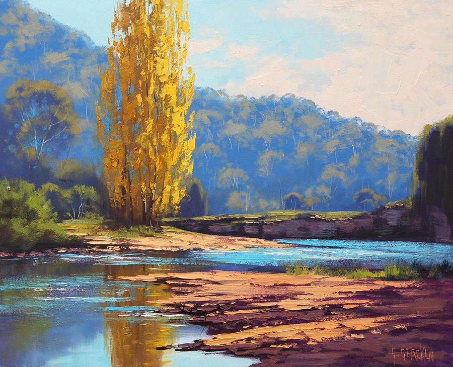 Golden Popular Tumut River by artsaus