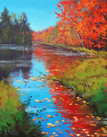 Fiery Fall Reflections by artsaus