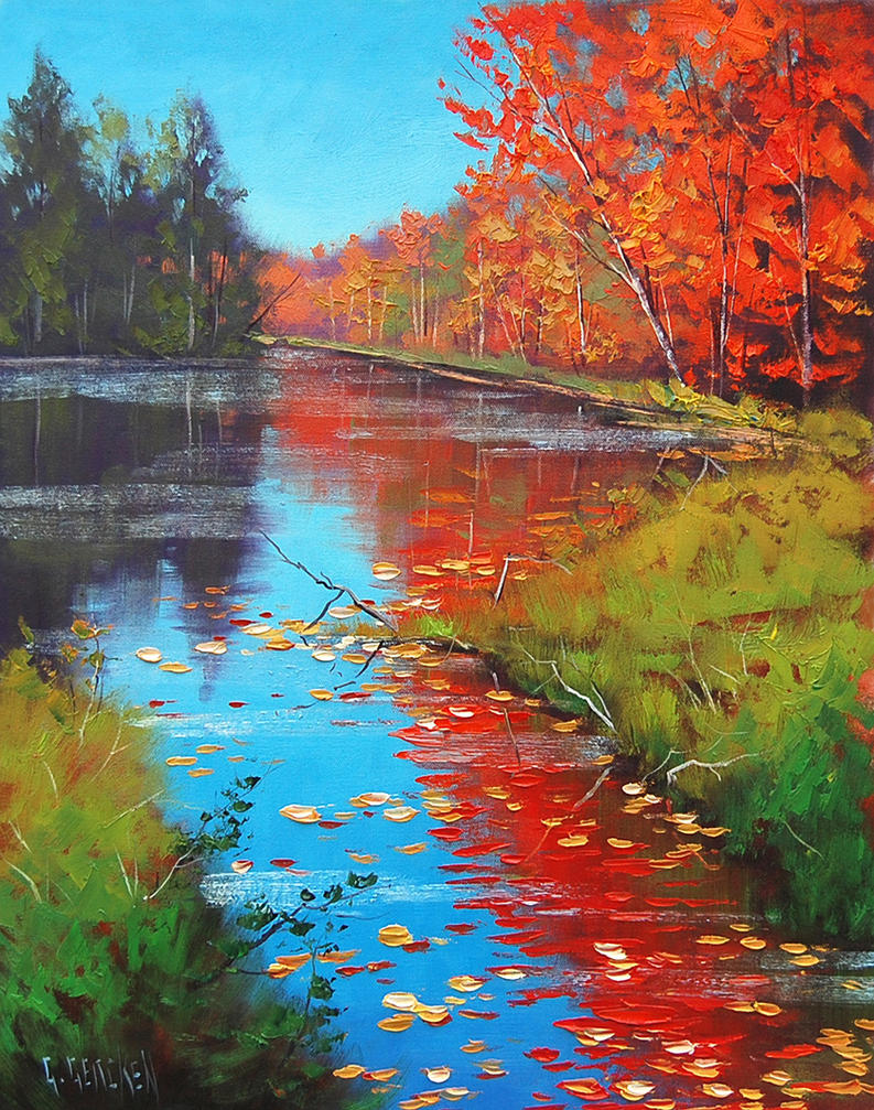 Fiery Fall Reflections by artsaus