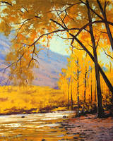 Golden Aspen Painting by artsaus
