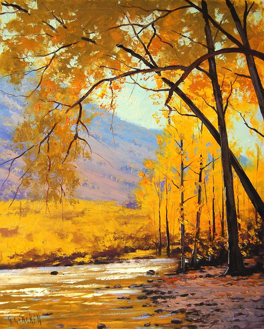 Golden Aspen Painting by artsaus